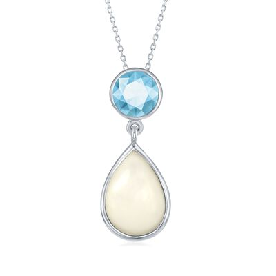 Mother-Of-Pearl and 2.30 Carat Blue Topaz Pendant Necklace in Sterling Silver, , default