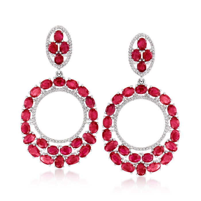 13.55 ct. t.w. Ruby and .56 ct. t.w. Diamond Open-Circle Drop Earrings in 14kt White Gold, , default