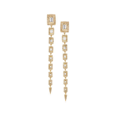 2.20 ct. t.w. Round and Baguette Diamond Graduated Drop Earrings in 18kt Yellow Gold, , default