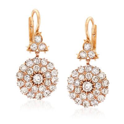 C. 1950 Vintage 4.00 ct. t.w. Diamond Drop Earrings in 14kt Yellow Gold, , default