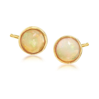 6mm Opal Stud Earrings in 18kt Gold Over Sterling
