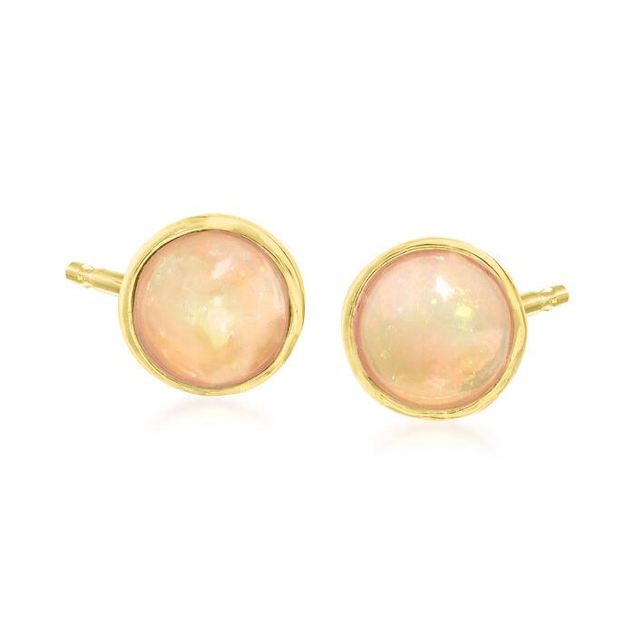 6mm Opal Stud Earrings in 18kt Gold Over Sterling