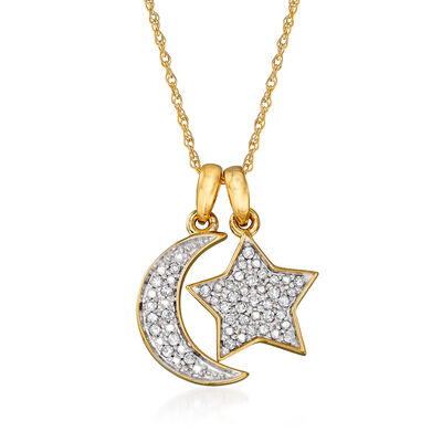 .10 ct. t.w. Pave Diamond Star and Moon Charm Necklace in 14kt Yellow Gold