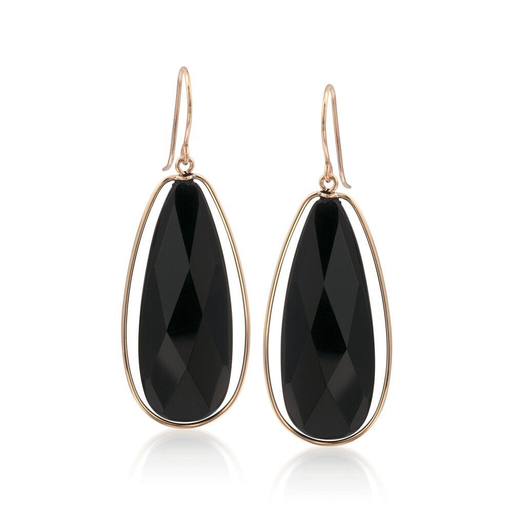 Black Onyx Dangle Earrings In 14kt Yellow Gold Default