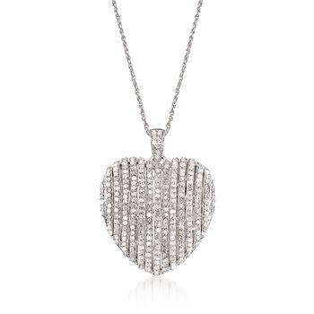 1.50 ct. t.w. Diamond Heart Pendant Necklace in Sterling Silver