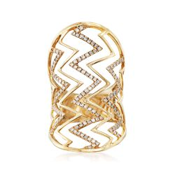 .61 ct. t.w. Diamond Wide Chevron Ring in 14kt Yellow Gold. Size 5, , default