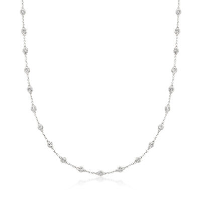 2.00 ct. t.w. Bezel-Set Diamond Station Necklace in 14kt White Gold