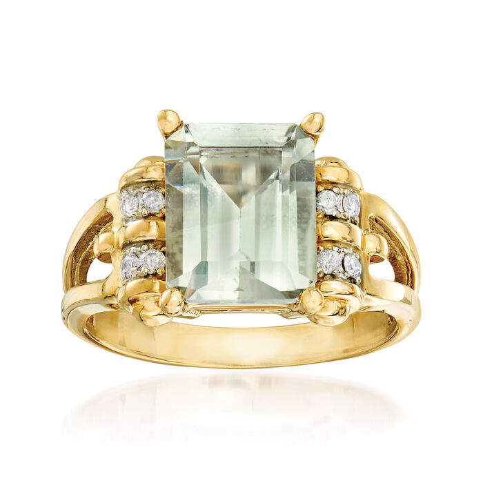 2.80 Carat Green Prasiolite Ring with Diamond Accents in 14kt Yellow Gold