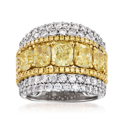 6.03 ct. t.w. Yellow and White Diamond Ring in 14kt Two-Tone Gold