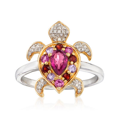 .50 ct. t.w. Multi-Gemstone and .10 ct. t.w. Diamond Turtle Ring in Sterling Silver and 18kt Gold Over Sterling