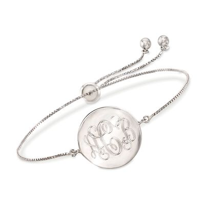 Sterling Silver Personalized Disc Bolo Bracelet, , default