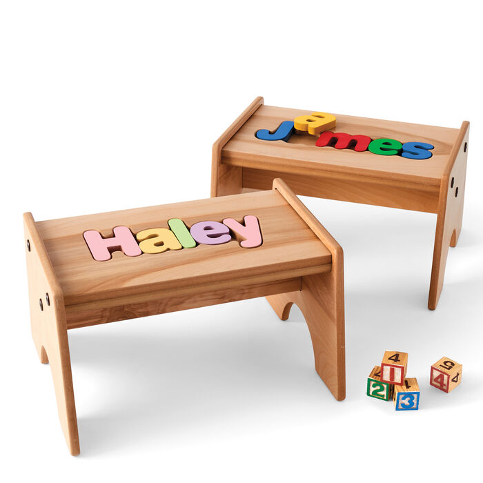 Child's Maple-Finished Personalized Name Puzzle Stool - Primary Colors