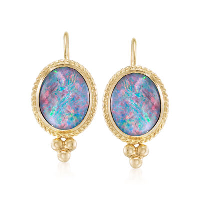 Blue Opal Triplet Drop Earrings in 14kt Yellow Gold, , default