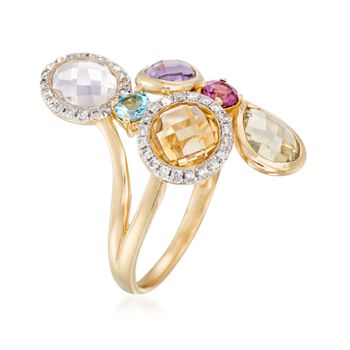 Rose Quartz and 2.95 ct. t.w. Multi-Gemstone Ring in 18kt Gold Over Sterling Silver. Size 7, , default