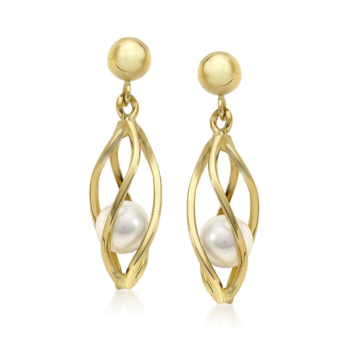 4mm Cultured Pearl Cage Earrings in 14kt Yellow Gold