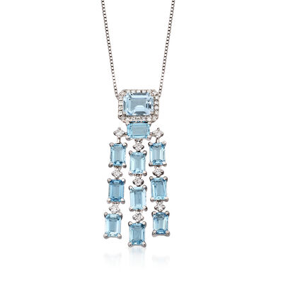 6.40 ct. t.w. Aquamarine and .45 ct t.w. Diamond Chandiler Pendant Necklace in 14kt White Gold