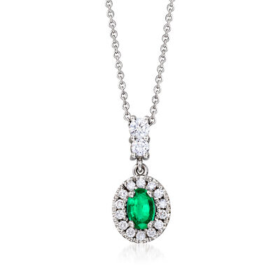 C. 1990 Vintage .45 Carat Emerald and .35 ct. t.w. Diamond Pendant Necklace in 18kt White Gold
