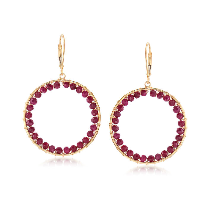 8.00 ct. t.w. Ruby Bead Circle Drop Earrings in 14kt Yellow Gold