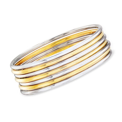 Two-Tone Sterling Silver Jewelry Set: Seven Bangle Bracelets, , default