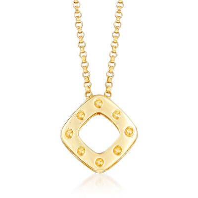 "Roberto Coin ""Pois Moi"" Square Drop Necklace in 18kt Yellow Gold, , default"