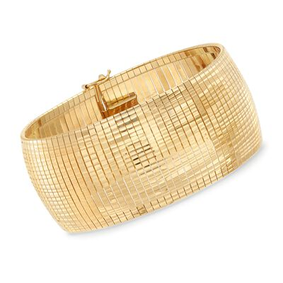 Italian 18kt Yellow Gold Over Sterling Silver Omega Bracelet