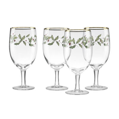 "Lenox ""Holiday"" Set of 4 Decal Iced Beverage Glasses, , default"