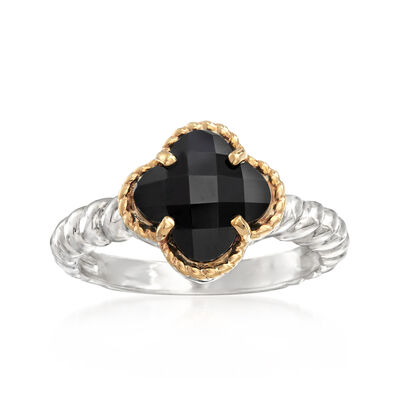 8mm Black Onyx Clover-Shaped Ring in Sterling Silver with 14kt Yellow Gold