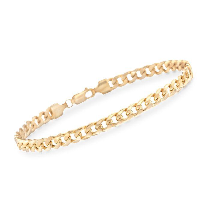 "Men's 5.5mm Cuban Link Bracelet in 14kt Yellow Gold. 8.5"", , default"