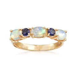 Ethiopian Opal and .10 ct. t.w. Iolite Ring in 14kt Yellow Gold, , default