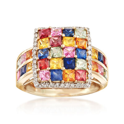 3.20 ct. t.w. Multicolored Sapphire and .22 ct. t.w. Diamond Ring in 14kt Yellow Gold, , default