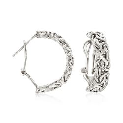 "Sterling Silver Byzantine Omega Hoop Earrings. 7/8"", , default"