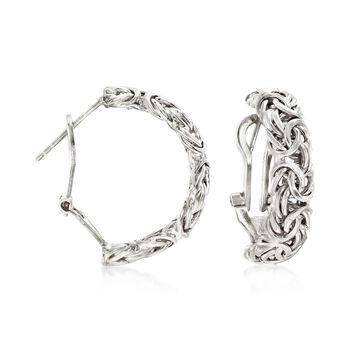 "Sterling Silver Byzantine Omega Hoop Earrings. 7/8"", , default"
