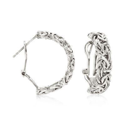 Sterling Silver Byzantine Omega Hoop Earrings, , default