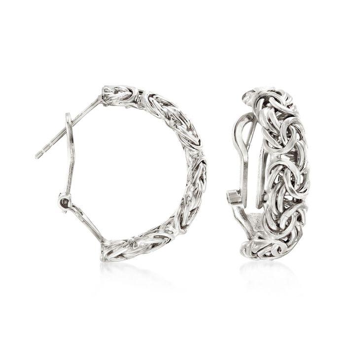 """Sterling Silver Byzantine Hoop Earrings. 7/8"""", , default"""