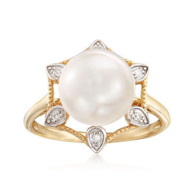 10-10.5mm Cultured Pearl 14kt Yellow Gold Ring with Diamond Accents , , default