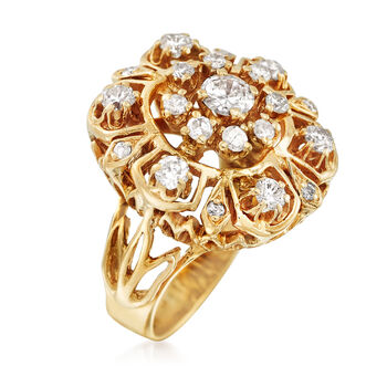 C. 1970 Vintage 1.25 ct. t.w. Diamond Cluster Cocktail Ring in 14kt Yellow Gold. Size 4.5