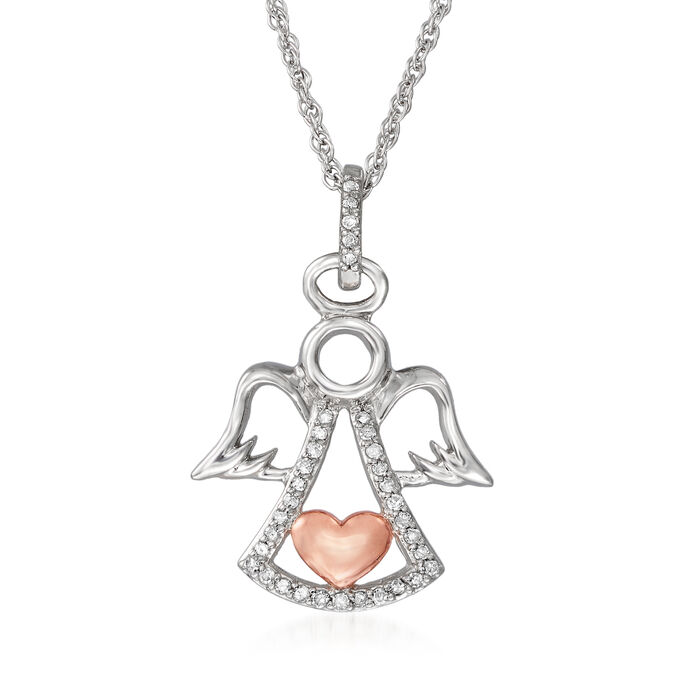 .10 ct. t.w. Diamond Angel and Heart Pendant Necklace in Sterling Silver with 18kt Rose Gold Over Sterling