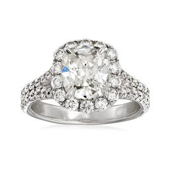 Henri Daussi 3.15 ct. t.w. Diamond Engagement Ring in 18kt White Gold, , default