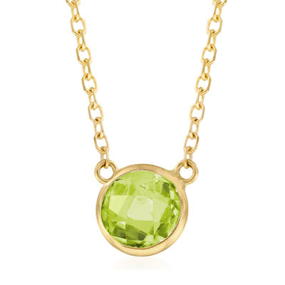 .90 Carat Green Peridot Necklace in 14kt Yellow Gold, , default
