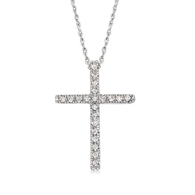.15 ct. t.w. Diamond Cross Pendant Necklace in 14kt White Gold, , default
