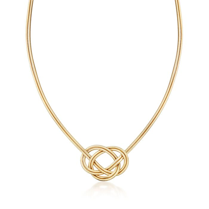 """Italian Two-Strand Flex Knot Necklace with 18kt Gold Over Sterling. 18"""""""