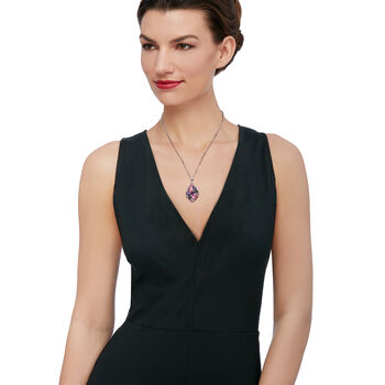 "Multi-Stone Pear-Shaped Pendant Necklace. 18"", , default"
