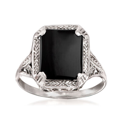 C. 1950 Vintage Black Onyx Ring in 14kt White Gold, , default