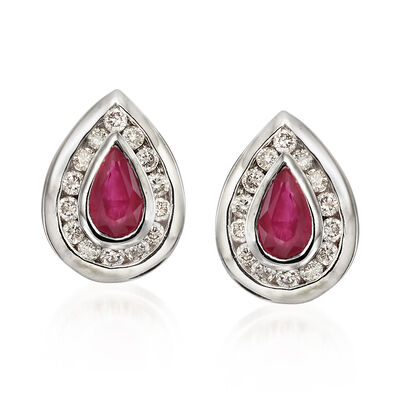 C. 1980 Vintage .40 ct. t.w. Ruby and .35 ct. t.w. Diamond Pear-Shaped Earrings in 14kt White Gold, , default
