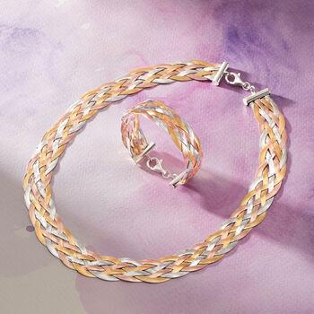 Italian Tri-Colored Sterling Silver Braided Herringbone Bracelet, , default