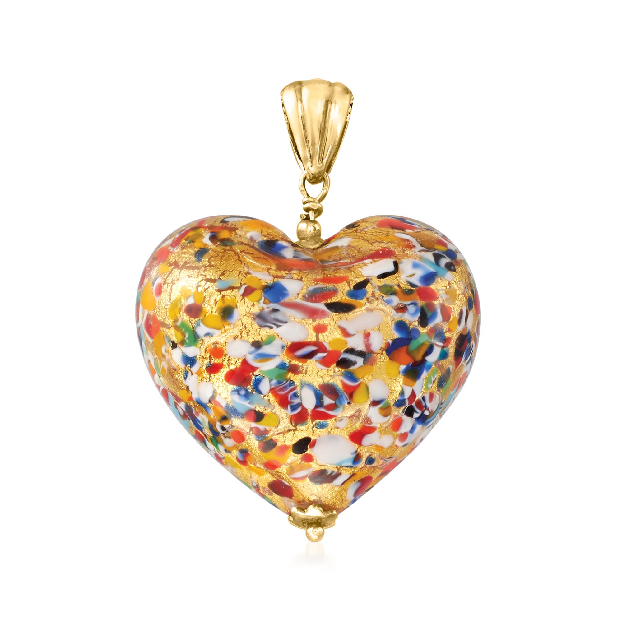 Striped Gold GlassOfVenice Murano Glass Heart Pendant
