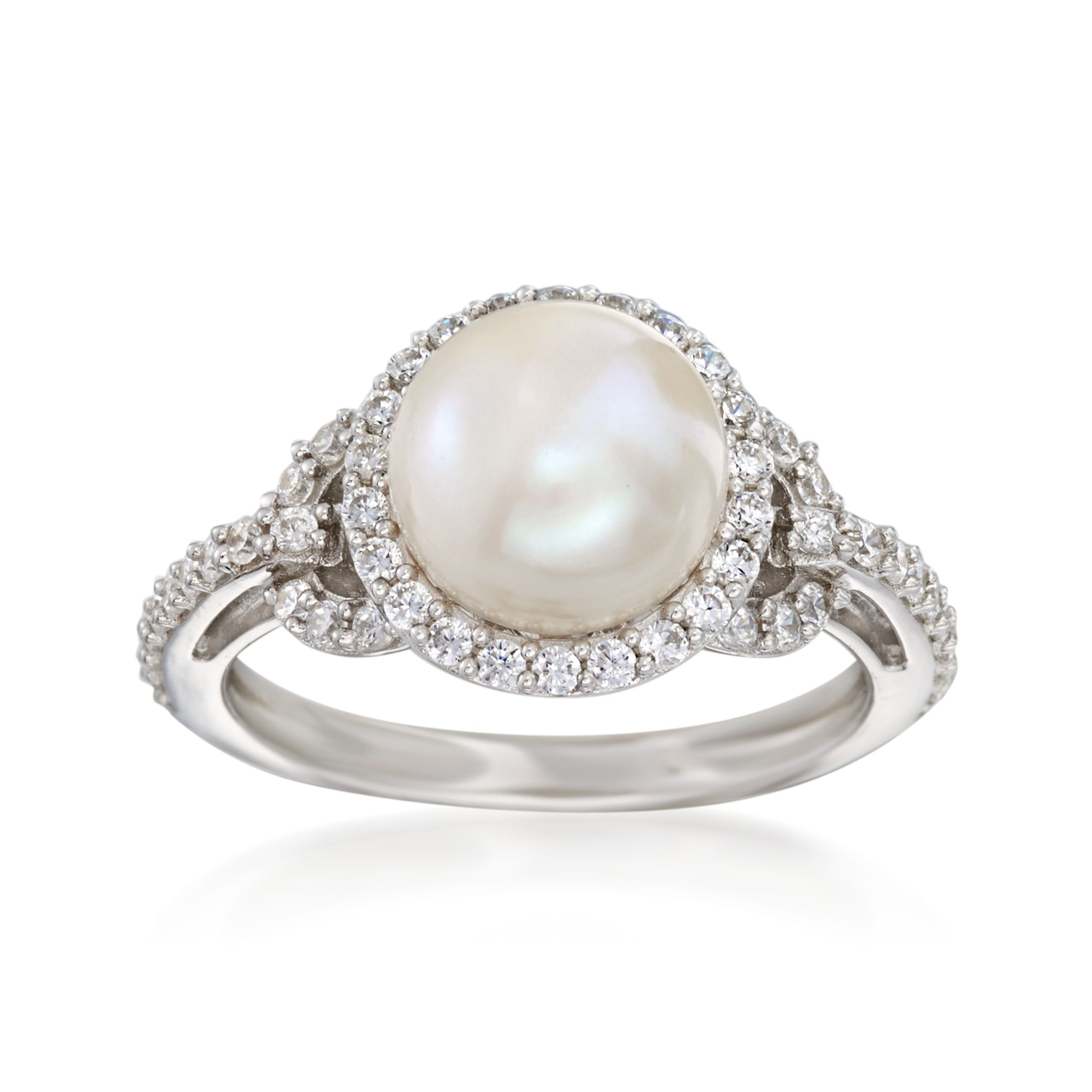 8 mm NATURAL bouton//Round Freshwater Pearl Sterling Silver 925 Ring W Zircone cubique accents